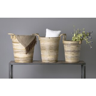 East At Main's Durant Brown Rattan Round Basket Set - Set of 3