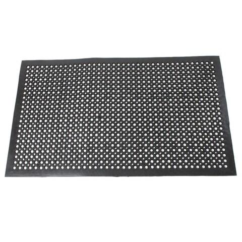 Bar Kitchen Industrial Black Rubber Multi-functional Anti-fatigue Drainage Nonslip Hexagonal Mat