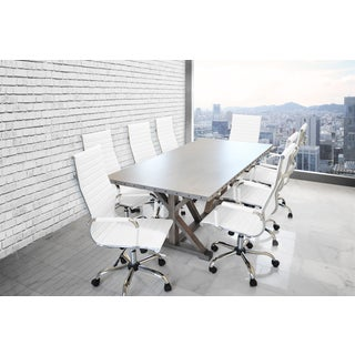 SOLIS ARMIS Galvanized Iron Top Nailhead Trim Table, White Padded Ribbed High Back Leather Office Chairs 9-piece Conference Set