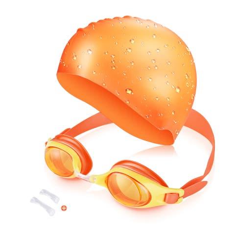 Kids Swim Kit - Swim Goggles and Swim Cap For Diving / Snorkeling / Surfing