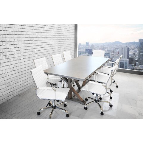SOLIS ARMIS Galvanized Iron Top Nailhead Trim Table, White Padded Ribbed Low Back Leather Office Chairs 9-piece Conference Set