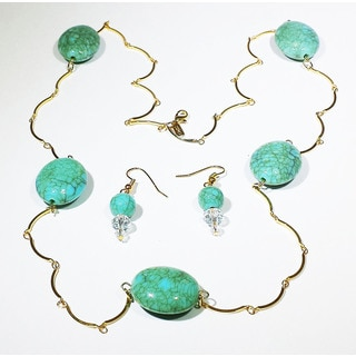 Turquoise-Tone Glass Bead Necklace and Earrings Set