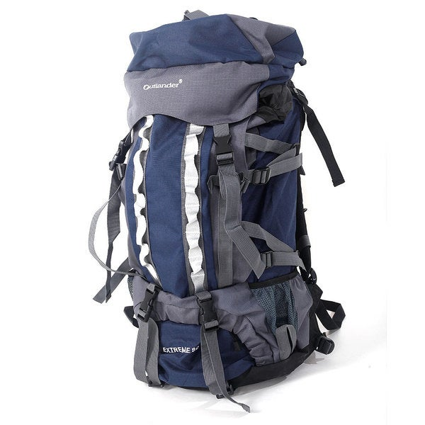 a695c0ef8d5a 80L Outlander Dark Blue and Grey Canvas Professional Backpack Shoulders Bag