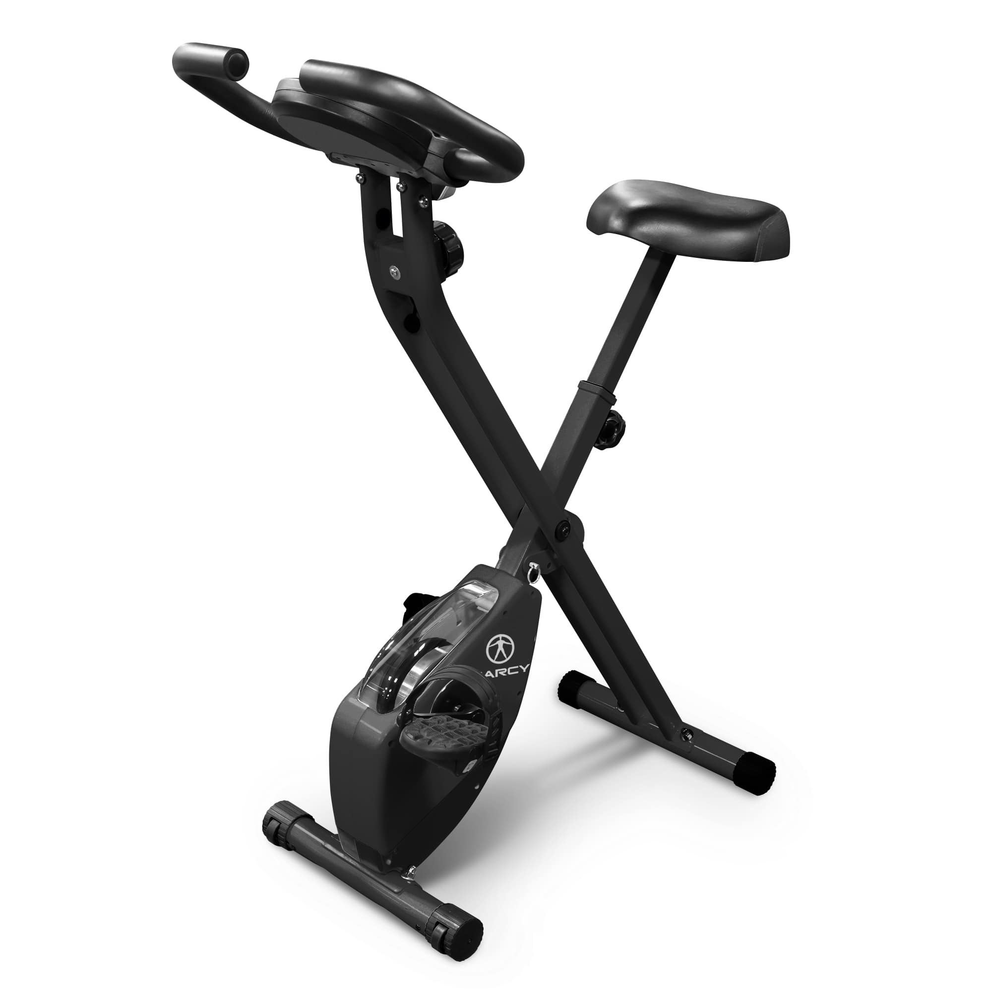Folding Portable Exercise Bike Adjustable Padded Seat Counter Weighted  Pedals