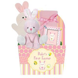 Babys First Easter Pink Bunny Gift Basket
