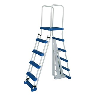 52-in A-Frame Ladder w/ Safety Barrier and Removable Steps for Above Ground Pools