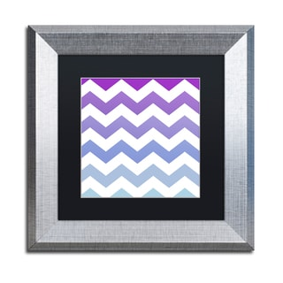 Color Bakery 'Purple-Blue Chevron' Matted Framed Art