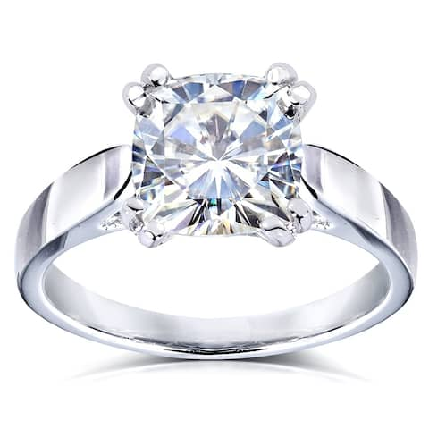 Annello by Kobelli 14k White Gold 2 Carat Cushion Moissanite Solitaire 4-Prong Peg Head Engagement Ring (GH, VS)