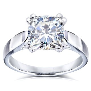 Annello by Kobelli 14k White Gold 2ct Cushion Moissanite Solitaire 4-prong Engagement Ring