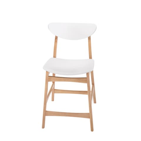 "Simplicity White and Light Oak 24"" Bar Stool with Vinyl Upholstered Seat And Curved Back, Set of Two"
