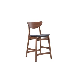 Emerald Home Simplicity Wood Back w/ Blue Uph Seat Barstool -2PK