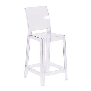 Offex Ghost Transparent Crystal Square Counter Stool