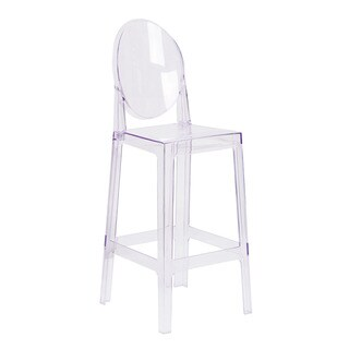 Offex Ghost Barstool in Transparent Crystal with Oval Back