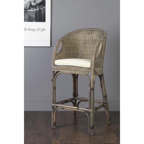East At Main's Hollis Brown Rattan Square Barstool