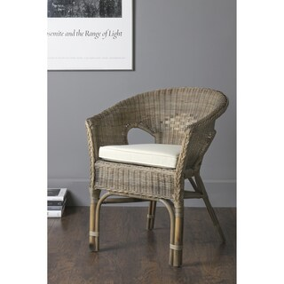 East At Main's Collins Brown Rattan Square Accent Chair