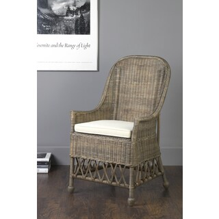 East At Main's Marietta Brown Rattan Square Accent Chair