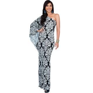Koh Koh Women's One-shoulder Retro Printed Maxi Dress