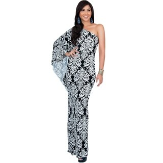 Koh Koh Women's One-shoulder Retro Printed Maxi Dress