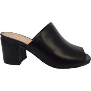Women's Charles David Brindle Heeled Slide Black Leather