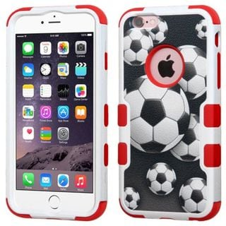 Insten Black/ Red Soccer Ball Collage Tuff Hard PC/ Silicone Dual Layer Hybrid Case Cover For Apple iPhone 6 Plus/ 6s Plus
