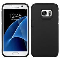 Insten Black Hard PC/ Silicone Dual Layer Hybrid Rubberized Matte Case Cover For Samsung Galaxy S7