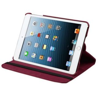 Insten Red Swivel Leather Case Cover with Stand For Apple iPad Mini 1/ 2/ 3