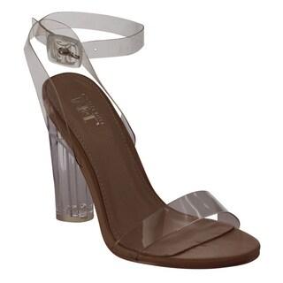 M&L EG62 Women's Clear Buckle Strap Lucite High Block Heel Dress Sandals