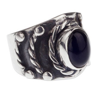 Men's Handmade Sterling Silver 'Protect' Obsidian Ring (Mexico)