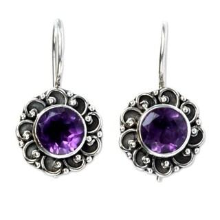 Handmade Sterling Silver 'Singaraja Sunflower Purple' Amethyst Earrings (Indonesia)