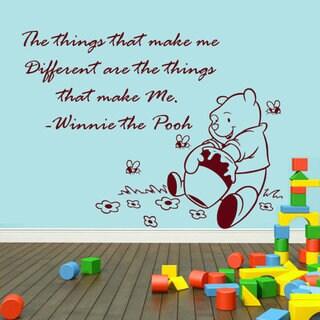 Winnie The Pooh Quote Children Interior Design Vinyl Sticker Art Mural Nursery Sticker Decal Size 48x65 Color Black
