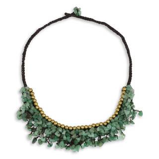 Handmade Brass 'Garden Party' Aventurine Necklace (Thailand)