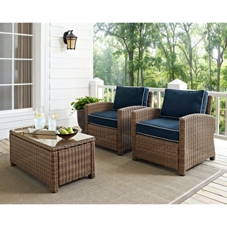 Bradenton Outdoor Wicker Arm Chairs with Navy Cushions (set of 2)