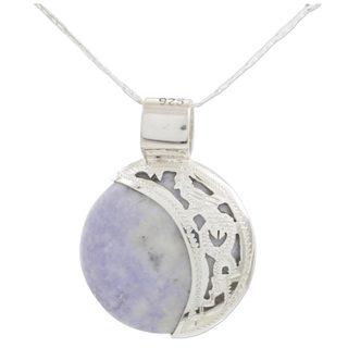Handmade Sterling Silver 'Lilac Quetzal Eclipse' Reversible Jade Necklace (Medium) (Guatemala)