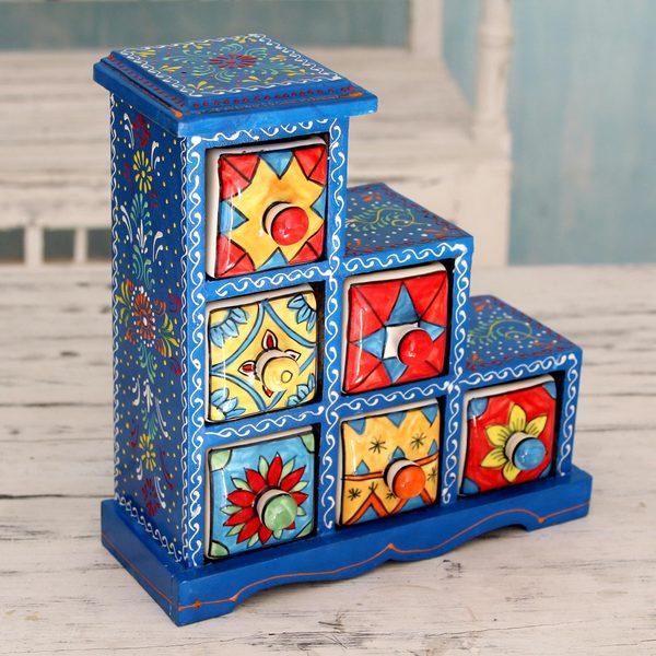 Handmade Mango Wood Ceramic 'Azure Gujurat' Decorative Box with Drawers (India)