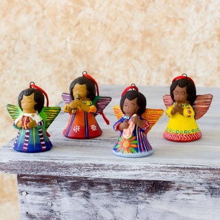 Set of 4 Handmade Ceramic 'Angels of Time' Ornaments (Guatemala)