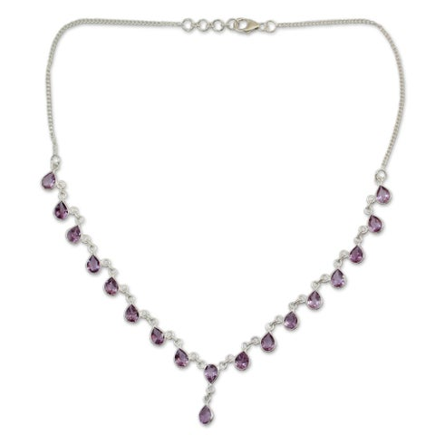 Handmade Sterling Silver 'Mystical Femme' Amethyst Necklace (India)