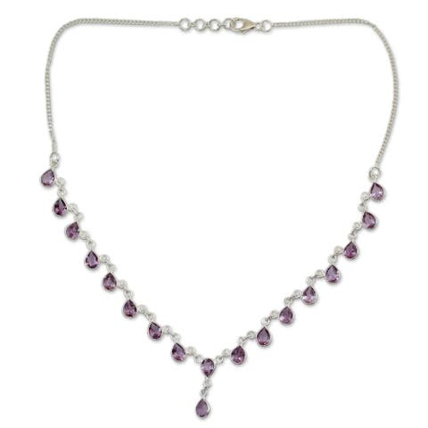 """Handmade Sterling Silver Mystical Femme Amethyst Necklace (India) - 7'6"""" x 9'6"""""""