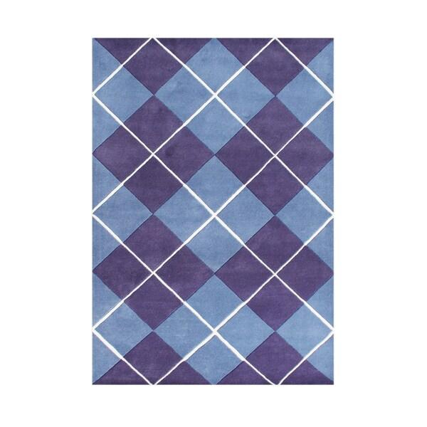 Alliyah Handmade New Zealand Blend Wool Casual Purple Geometric Rug ( 8' x 10' ) - 8' x 10'