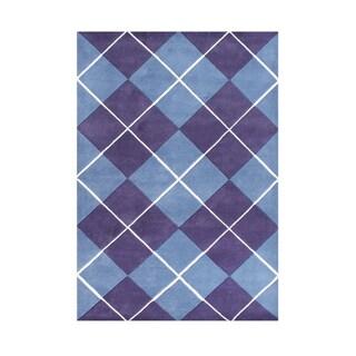 Alliyah Handmade New Zealand Blend Wool Casual Purple Geometric Rug ( 8' x 10' )