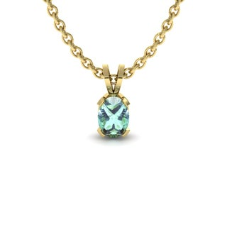 1 2 TGW Oval Shape Green Amethyst Necklace In 14K Yellow Gold Over Sterling Silver 18 Inches