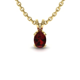 1 TGW Oval Shape Garnet Necklace In 14K Yellow Gold Over Sterling Silver, 18 Inches