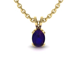 1 TGW Oval Shape Amethyst Necklace In 14K Yellow Gold Over Sterling Silver, 18 Inches