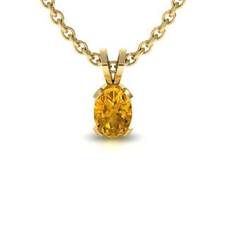 1 TGW Oval Shape Citrine Necklace In 14K Yellow Gold Over Sterling Silver, 18 Inches