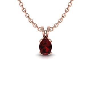 1/2 TGW Oval Shape Garnet Necklace In 14K Rose Gold Over Sterling Silver, 18 Inches