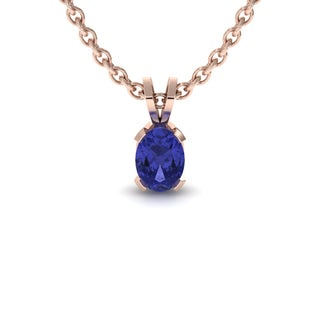 1 Carat Oval Shape Tanzanite Necklace In 14K Rose Gold Over Sterling Silver