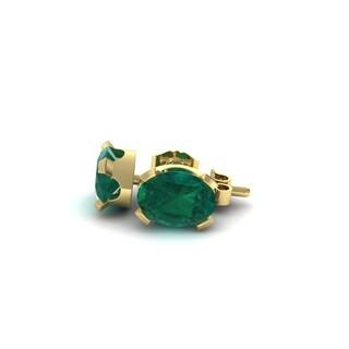 1 1/2 TGW Oval Shape Emerald Stud Earrings In 14K Yellow Gold Over Sterling Silver
