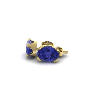 2 Carat Oval Shape Tanzanite Stud Earrings In 14K Yellow Gold Over Sterling Silver
