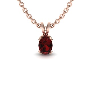 1 TGW Oval Shape Garnet Necklace In 14K Rose Gold Over Sterling Silver, 18 Inches