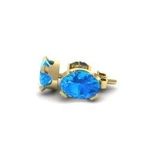 3 Carat Oval Shape Blue Topaz Stud Earrings In 14K Yellow Gold Over Sterling Silver