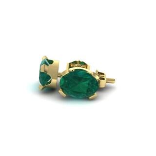 2 1/3 TGW Oval Shape Emerald Stud Earrings In 14K Yellow Gold Over Sterling Silver
